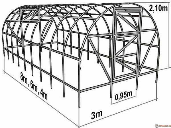 сборка теплицы из поликарбоната схема инструкция