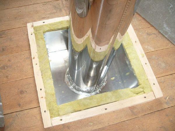 Установка трубы через потолок в бане