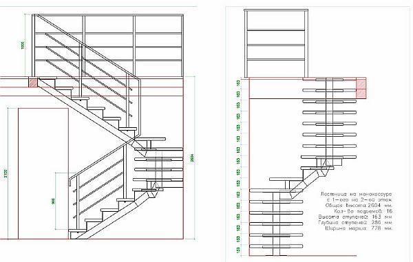 Лестница из профильной трубы своими руками чертеж