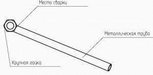 чертеж трубогиба из металлического стержня и гайки фото