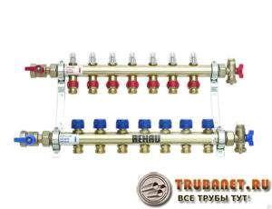 Фото – пример коллекторной гребенки для водопроводной системы с узлом подмеса