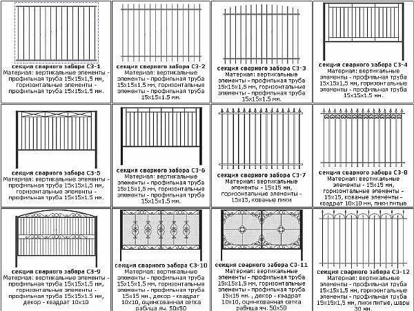 Фото – возможные варианты изготовления секций сварной изгороди