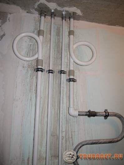 Фото: Компенсаторы на стояках горячего водопровода