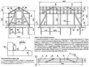Фото: чертеж металлического тепличного строения домиком