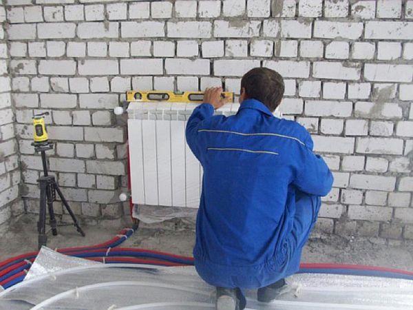 Фото – установка радиаторов