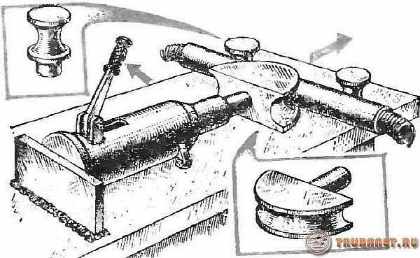 фото: гнем трубы с помощью гидравл-го домкрата