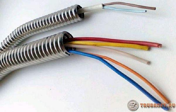 фото: гофрированные трубки с проводами