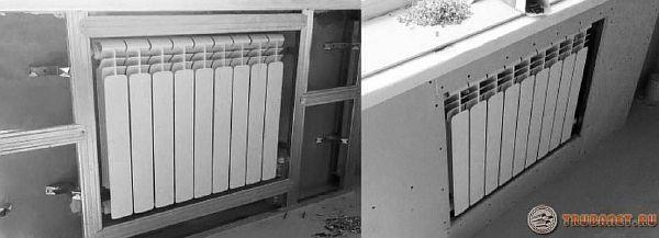 задекорировать отопительные радиаторы с помощью короба из гипсокартона