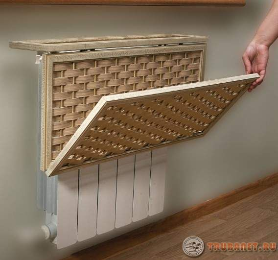Фото: декоративный короб для труб отопления в комнате