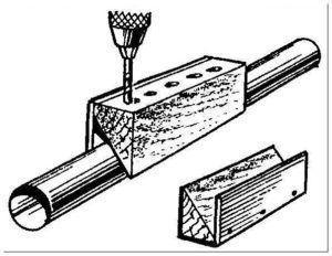 Фото – простейший кондуктор для сверления отверстий в трубе
