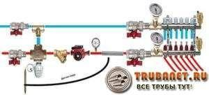 Фото - принцип формирования системы отопления на несколько контуров с узлом подмеса