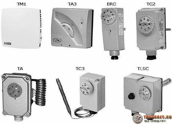 Фото – различные модели электрических терморегуляторов для устройства управления водяным нагреваемым полом