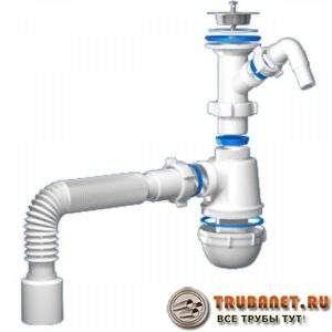 Фото – сифон с дополнительным отводным патрубком для слива из посудомоечной или стиральной машины