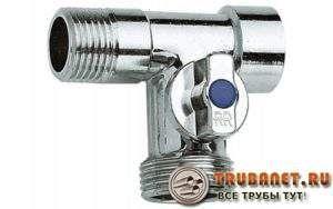 Фото – тройник проходного типа с отсечным краном для подключения посудомоечных машин к водопроводной сети