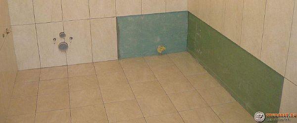Фото – облицовка стен ванны по гипсокартону