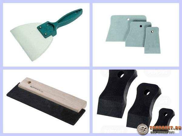 Фото – различные шпатели для заделки швов между плиточками затиркой