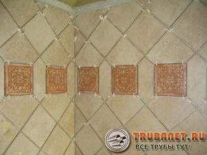Фото – размещение по диагонали при облицовке в комнате с ванной