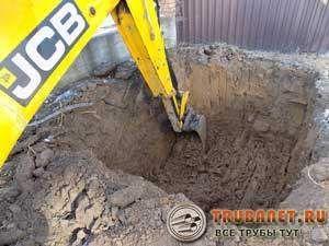 Фото – рытье котлована под канализацию из бетонных колец экскаватором