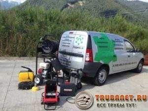 Фото – установка на автомобили для прочистки канализационного трубопровода