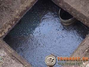 Фото – зимой яма часто быстро наполняется и перестает функционировать из-за промерзания