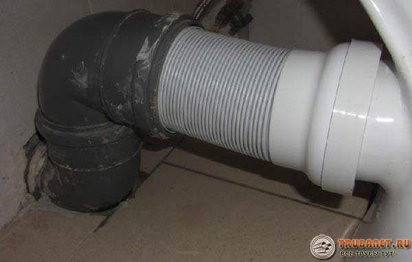 Фото - подключение унитаза к канализации