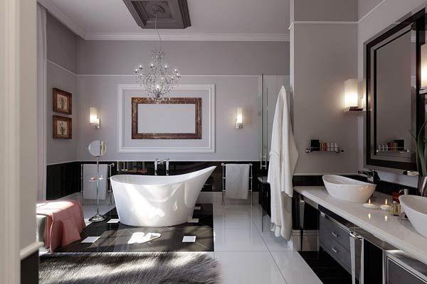 Фото – интерьер большой ванной комнаты