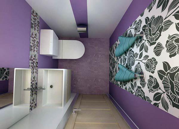 Фото – отделка обоями туалетной комнаты