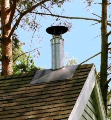 Фото — Готовый дымоход в бане.