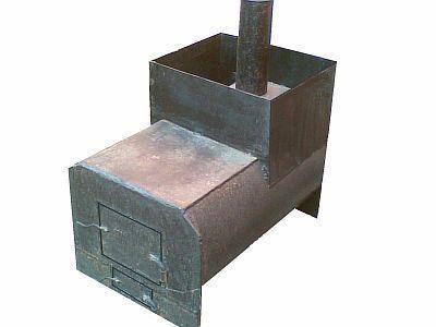Фото — Печь горизонтальная из трубы для бани.