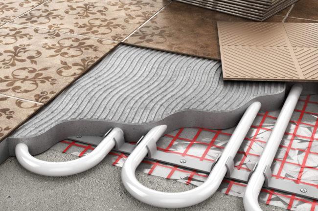 Фото — Тёплый водяной пол под плитку