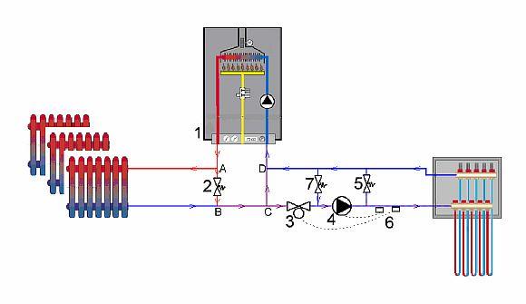 Фото — Схема с 2-х ходовым клапаном