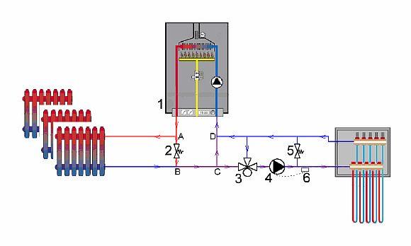 Фото — Схема с 3-х ходовым клапаном