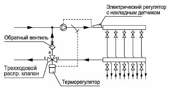 Фото — Схема с трёхходовым клапаном