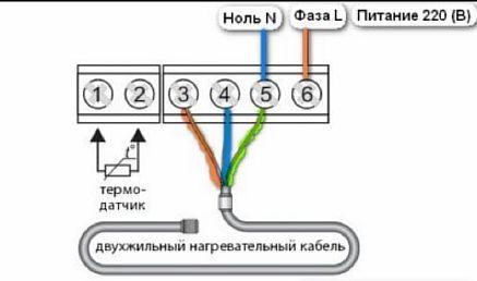 Фото — Схема с двужильным кабелем