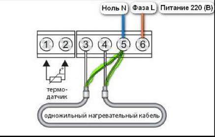 Фото — Схема с одножильным кабелем