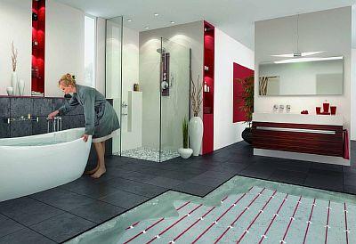 Фото — Тёплый пол в ванной