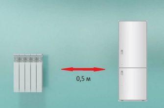 Батарея рядом с холодильником